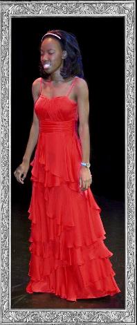 Sandra Gayer in red dress